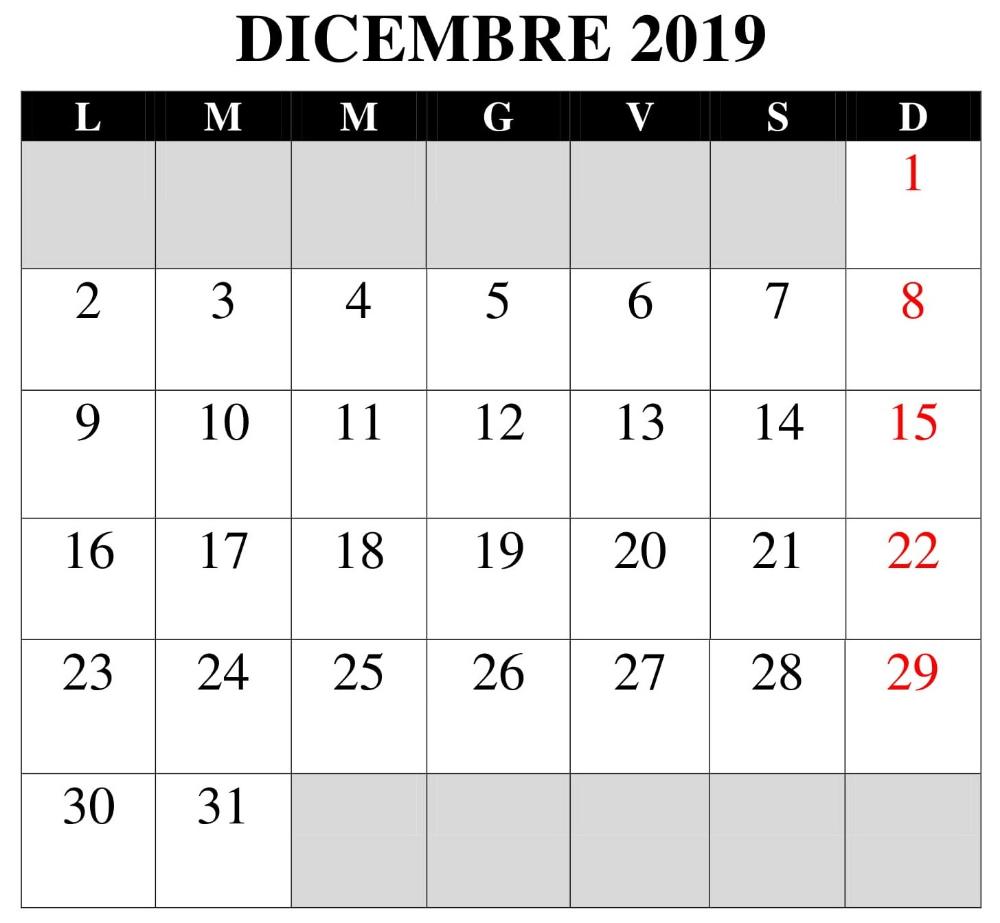 Calendario Mese Dicembre 2019.Pdf Calendario Dicembre 2019 Calendario Dicembre 2019