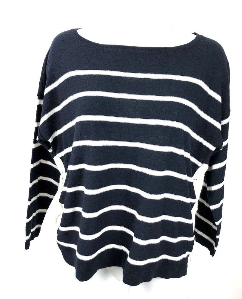 7500a6f37f NWT Ann Taylor LOFT Sweater Nautical Striped lace up Side Pullover Size L   AnnTaylorLoft  PulloverSweater  Casual