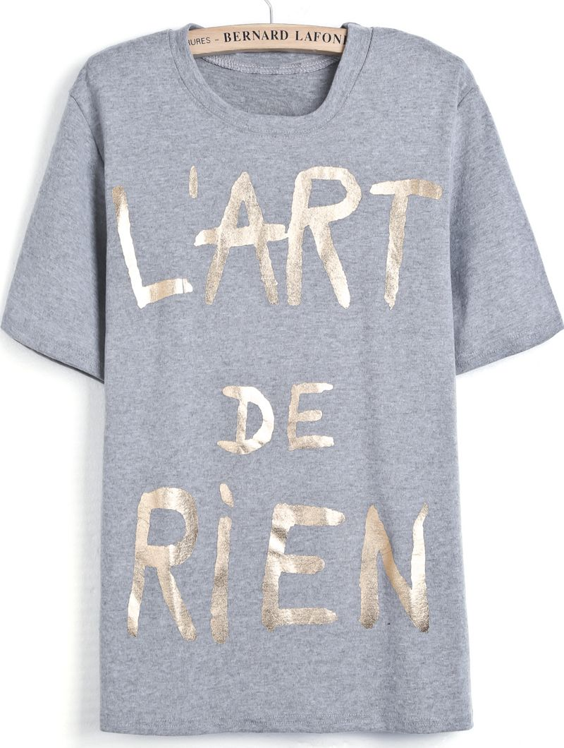 66cf0342ac Grey Short Sleeve Gold Letters Print T-Shirt - Sheinside.com ...