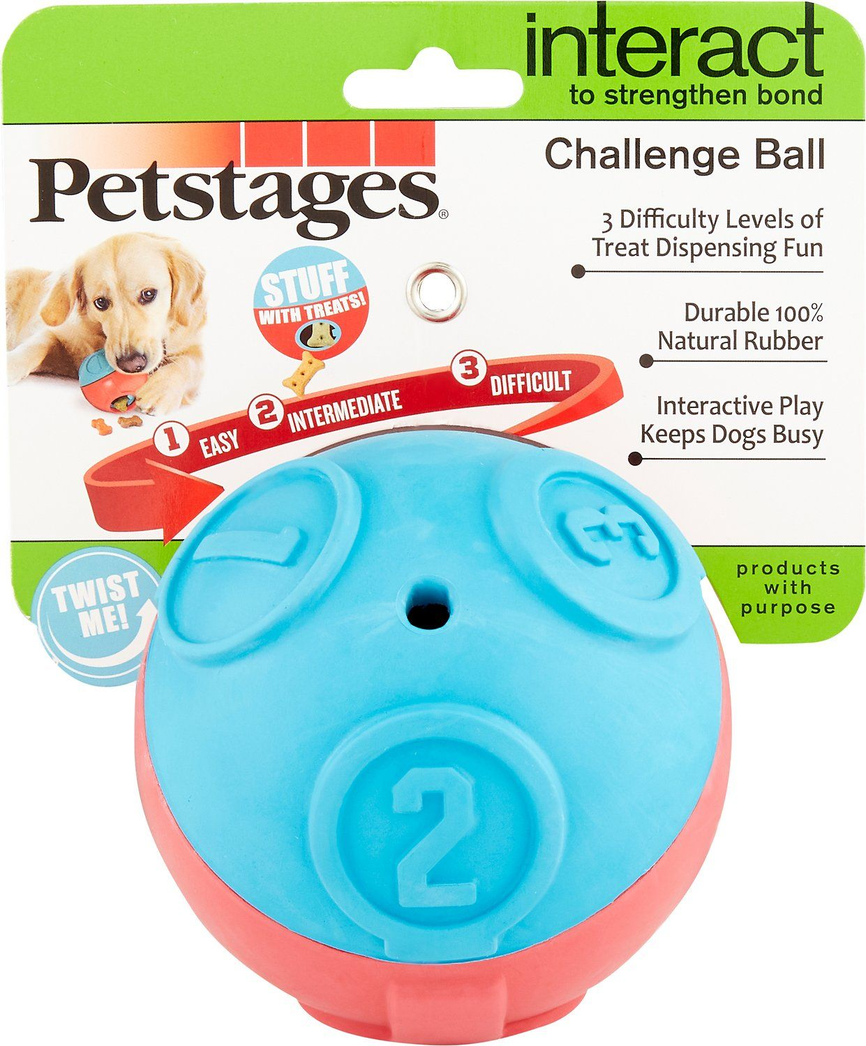 Petstages Challenge Ball Treat Dispensing Dog Toy Chewy Com