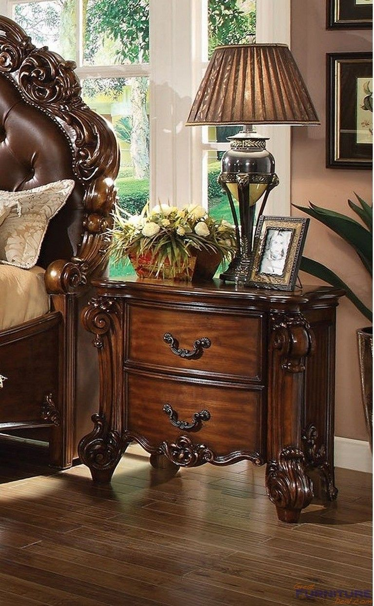 Acme Furniture Vendome Traditional Two Drawer Nightstand in Cherry