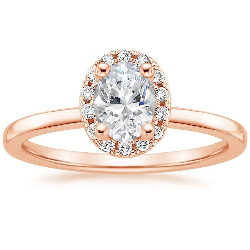 Oval Cut French Halo Diamond Engagement Ring - 14K Rose Gold