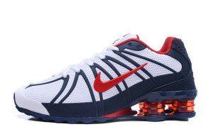 012939f915d Mens Nike Shox Kpu White Red Navy Blue Running Shoes