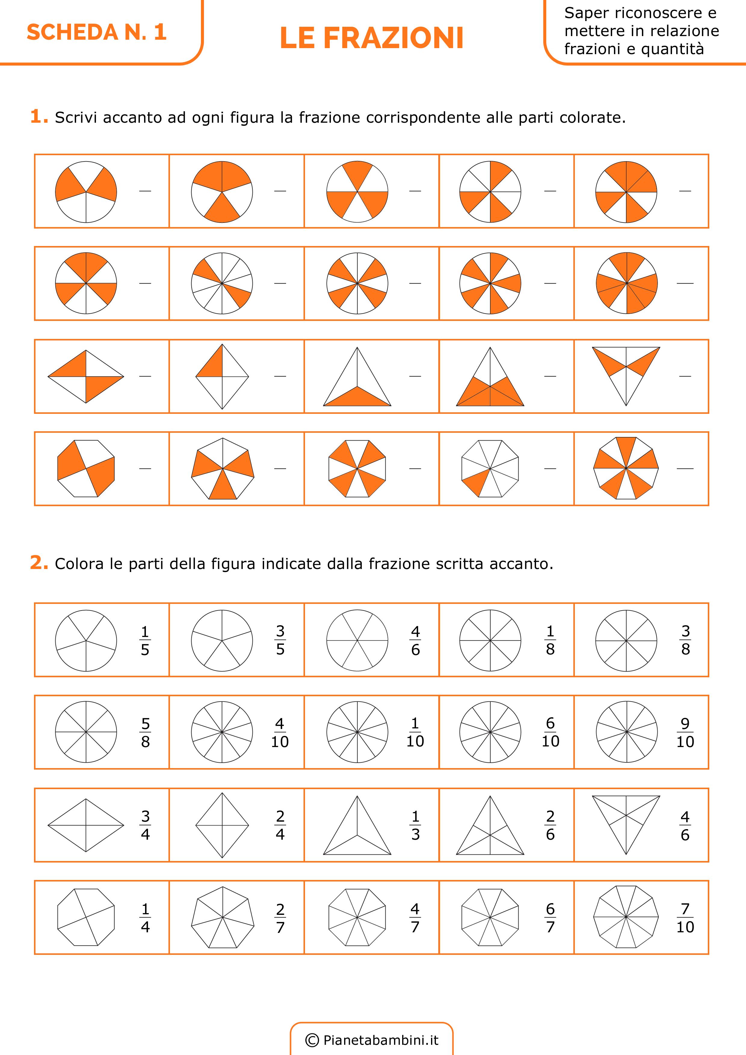 Esercizi sulle Frazioni da Stampare per la Scuola Primaria ...