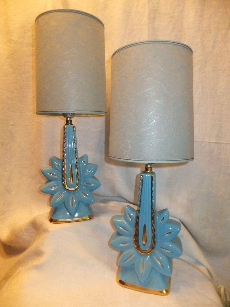 Vtg 1950s pr pottery boudoir lamps shades works turquoise gold trim vtg 1950s pr pottery boudoir lamps shades works turquoise gold trim ebay aloadofball Choice Image