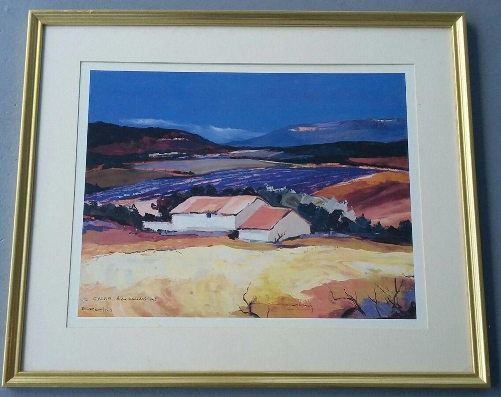 Rare hand signed bruno perino landscape serigraph signed framed art print impressionism