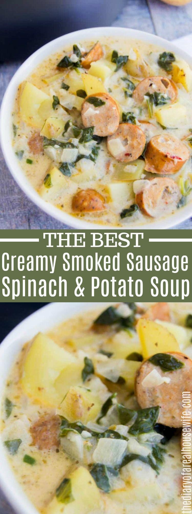 Creamy Smoked Sausage Spinach and Potato Soup #potatosoup