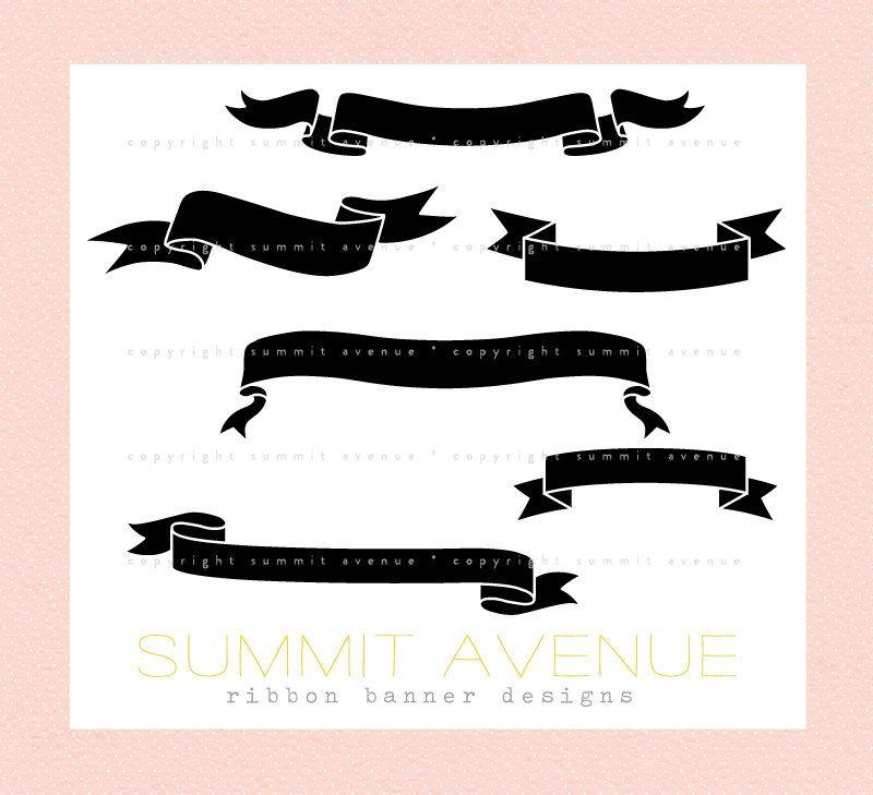 ribbon & banner silhouettes digital clip art - for ...