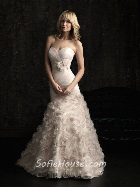 Mermaid Sweetheart Fit And Flare Champagne Organza Fl Wedding Dress With Sash