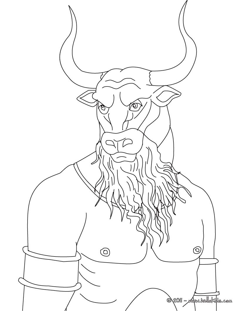 Minotaur The Bull Headed Man Monster Coloring Page Mythical
