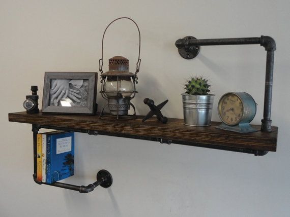 industrial black pipe shelf the hanger thick tuyau noir tag re industrielle et tuyau. Black Bedroom Furniture Sets. Home Design Ideas