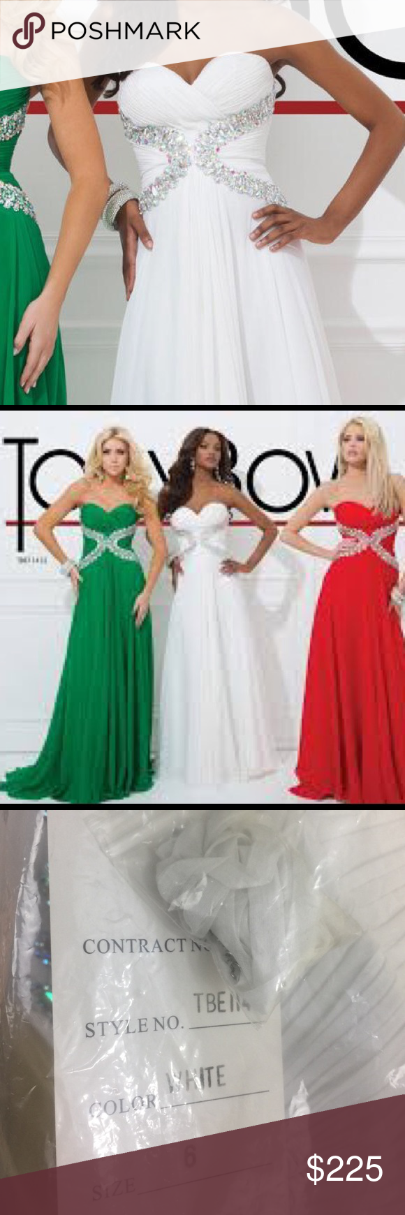 Never worn with tags tony bowls dress beautiful white strapless same pattern of stone in front and back dresses also flowing gown embellished waist by nwt my posh rh pinterest