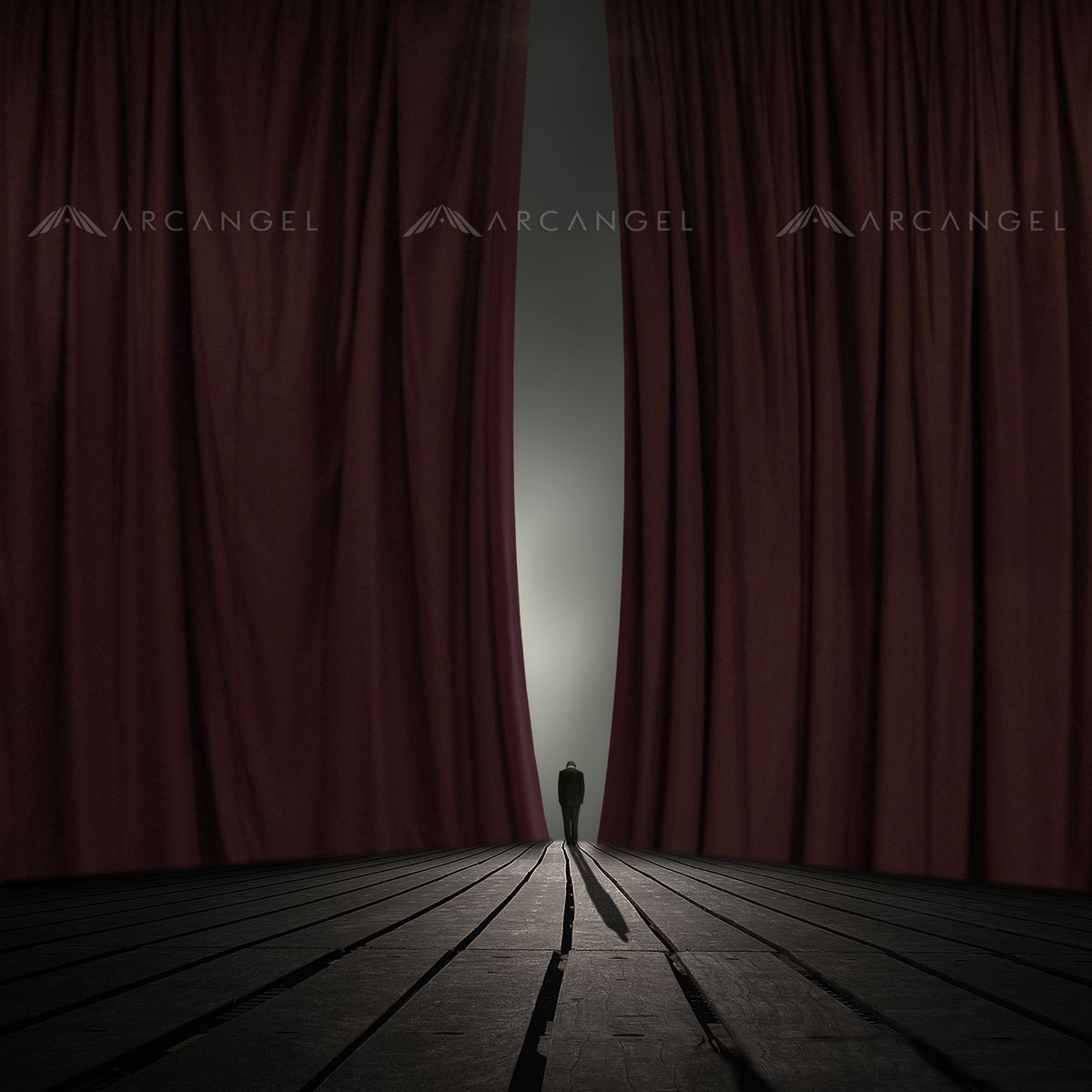 Black theatre curtain - Arcangel Person Standing Underneath Stage Curtains By Philip Mckay