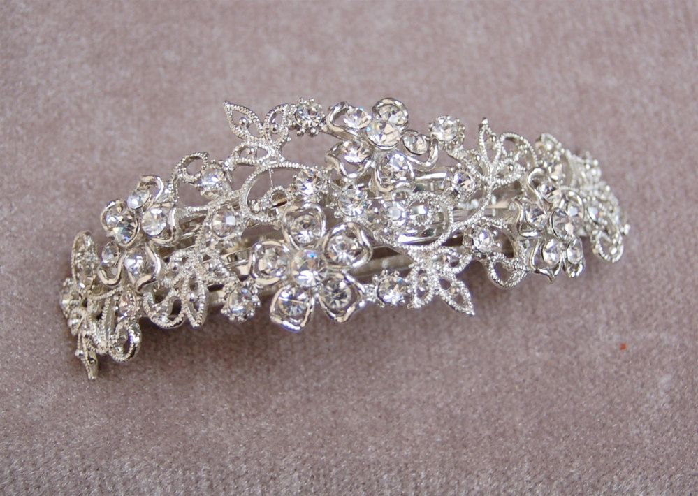 fancy rhinestone hair clip barrette bridal hair clip wedding hair piece spring wedding 18 00 via etsy