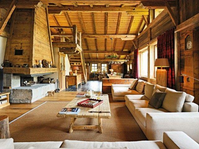 le style campagne authentique dans une ferme savoyarde building ideas cabin and salons. Black Bedroom Furniture Sets. Home Design Ideas
