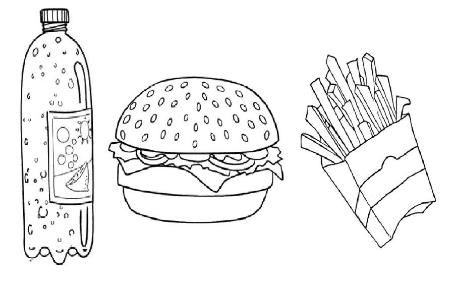 Printable Fast Food French And Burger With Drink Coloring Pages