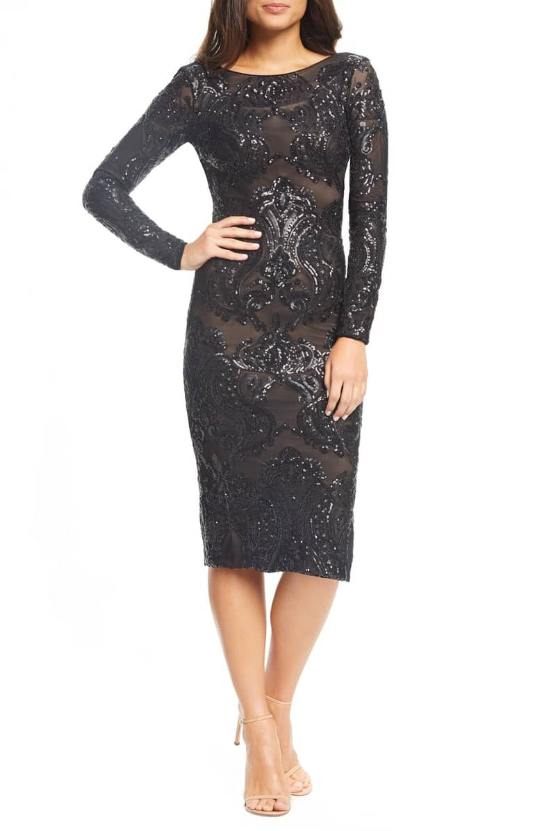 e56b4e0bfc98 Emery Sequin Sheath Dress, Main, color, BLACK/ NUDE | Fashion ...