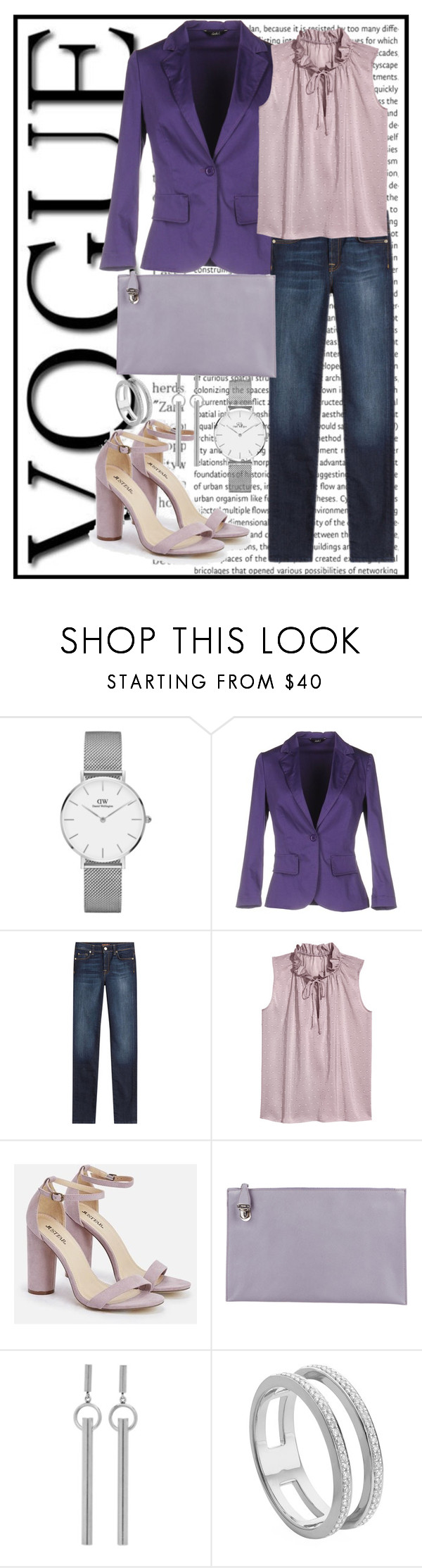 """""""cute in purple"""" by francymayoli ❤ liked on Polyvore featuring Daniel Wellington, Carla G., 7 For All Mankind, JustFab, Prada, Isabel Marant and Monica Vinader"""