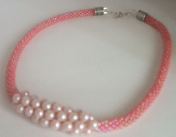 Pink Kumihimo Bead Braided Necklace by FranksStudio on Etsy, $37.00