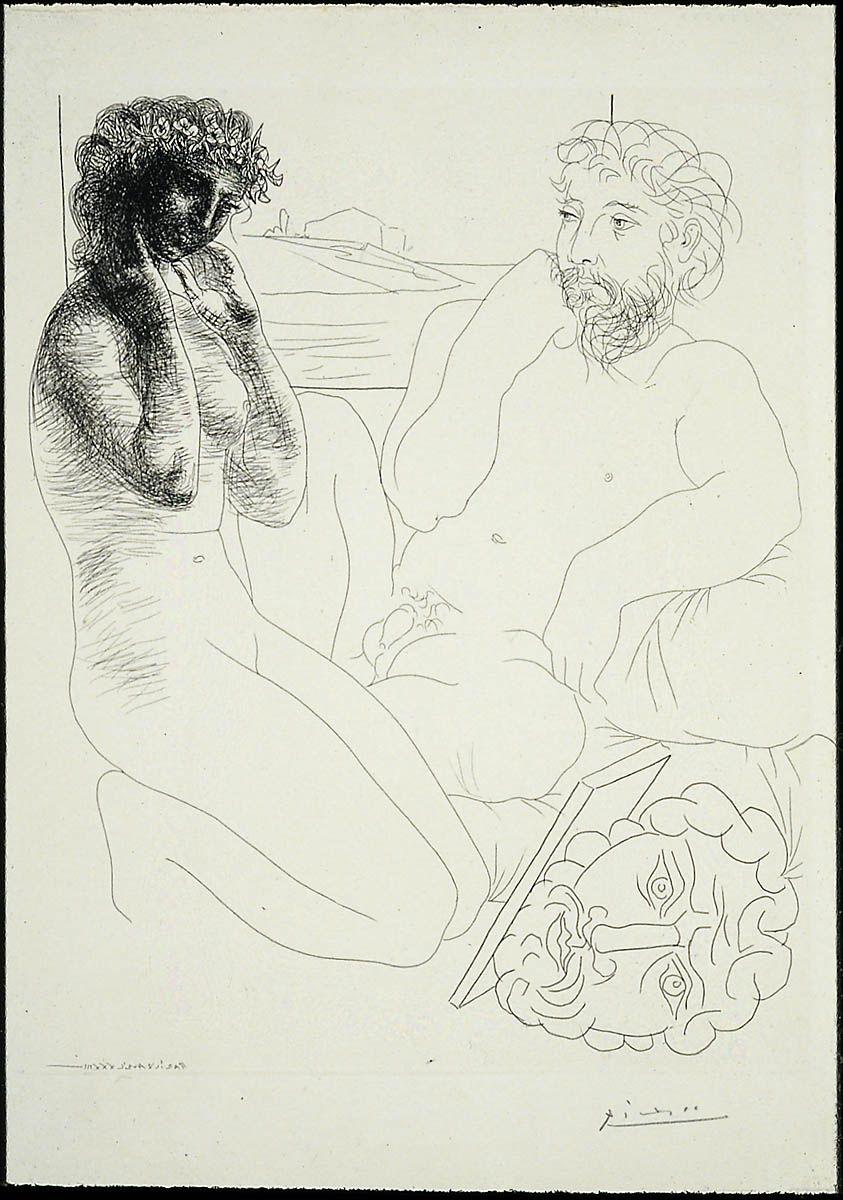 Sculptor and Kneeling Model (1933)