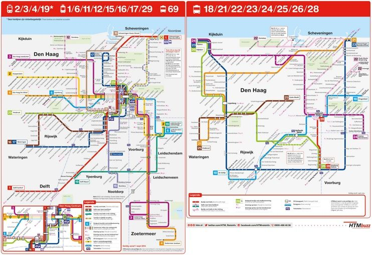 The Hague tram and bus map Maps Pinterest