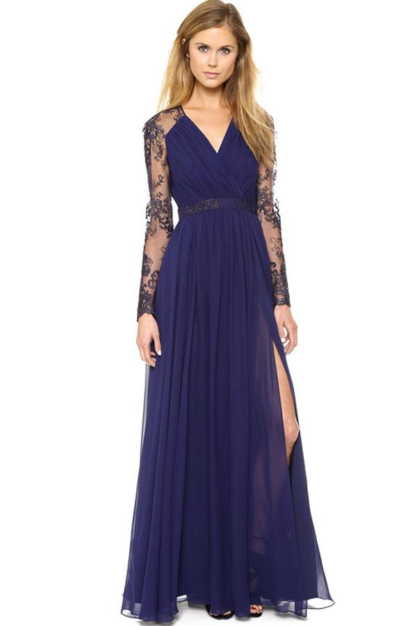 9a68e4f6a1a Dark+Blue+Lace+Accent+Slit+Maxi+Party+Dress+ Dark+ Dress+ maykool