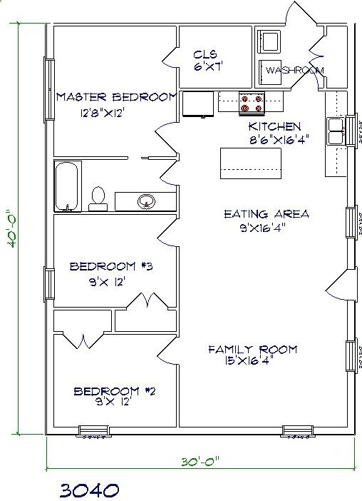 30x40 Barndominium Floor Plans Barndominium Floor Plans House Plans One Story Barndominium Plans