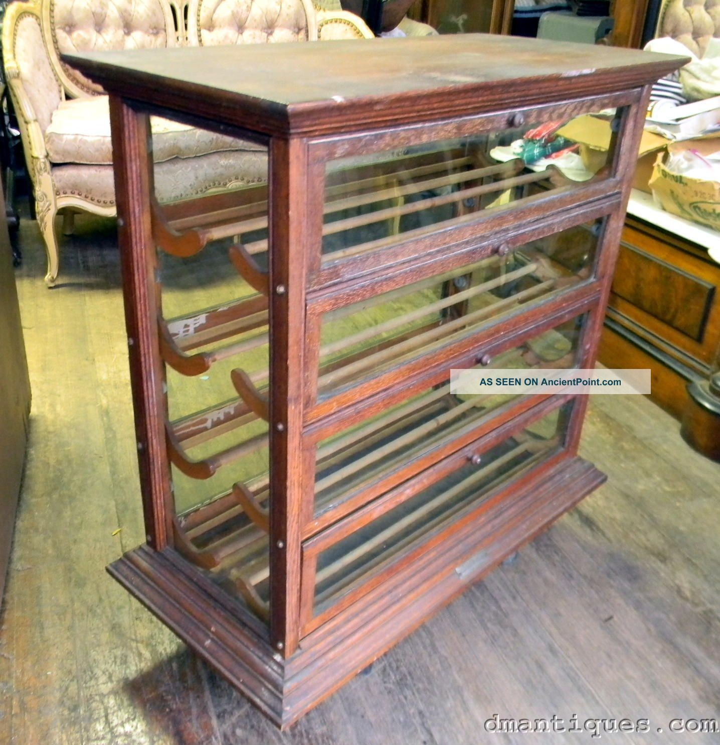 Antique Country Store Solid Oak Ribbon Display Cabinet Russell Ilion Ny - Antique Country Store Solid Oak Ribbon Display Cabinet Russell Ilion