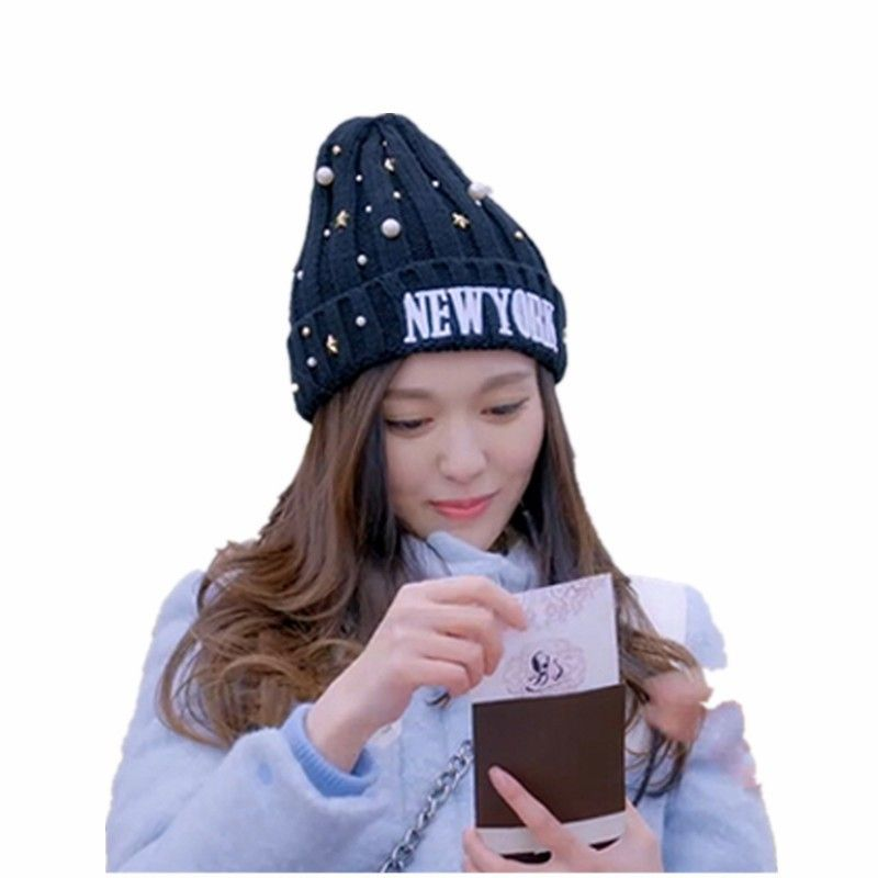 5e30ead9743 Click to Buy    Women Hats Girls Pearl NEW YORK Warm Winter Beanies ...