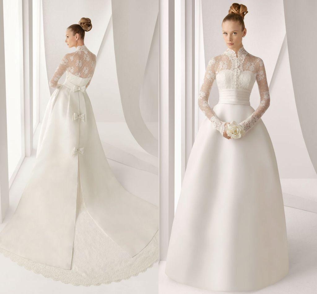 designer vintage high neck long sleeve satin lace wedding dress on aliexpresscom 30000
