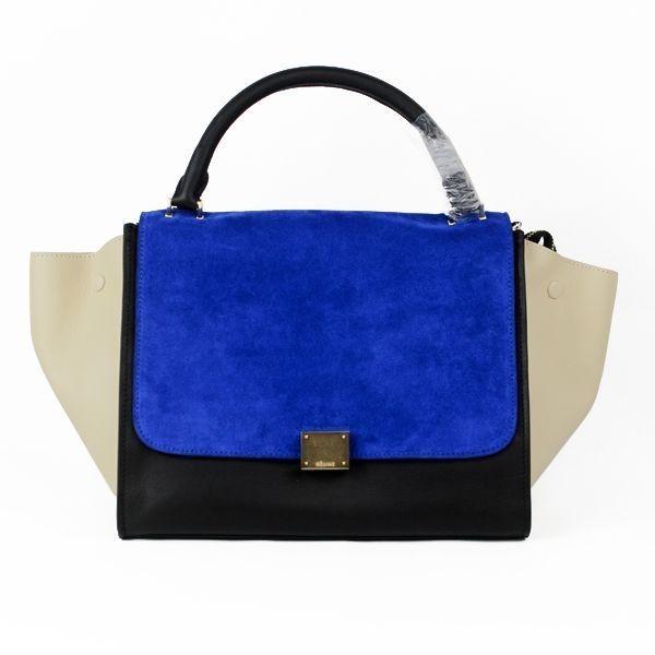 def19524cb Celine Tricolor White Black Blue Trapeze Leather Bag