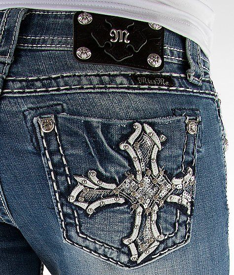 Miss Me English Cross Boot Stretch Jean