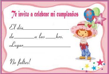 Invitaciones De Rosita Fresita Gratis De Cumpleaños
