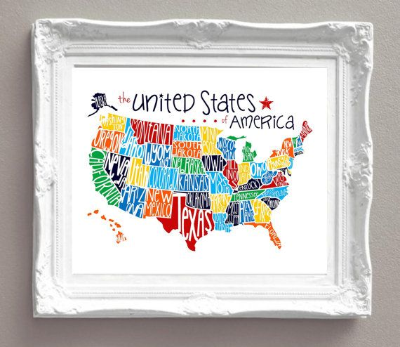 United States Of America Map Primary Colors Red Orange Blue - Horizontal us map