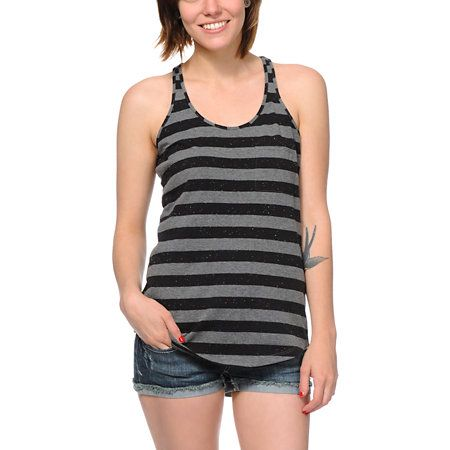 7c0bfb6a715d4 What s more delicious than the Black and Charcoal Confetti stripe tank top   Nothing. This girls racerback tank top from Zine is a tasty way to top any  ...