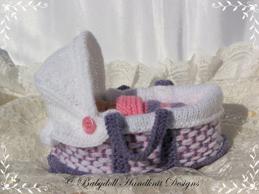 Moses Basket 4-5 inch doll-knitting pattern, crib, moses basket ...