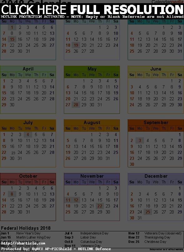 free online 2018 calendar