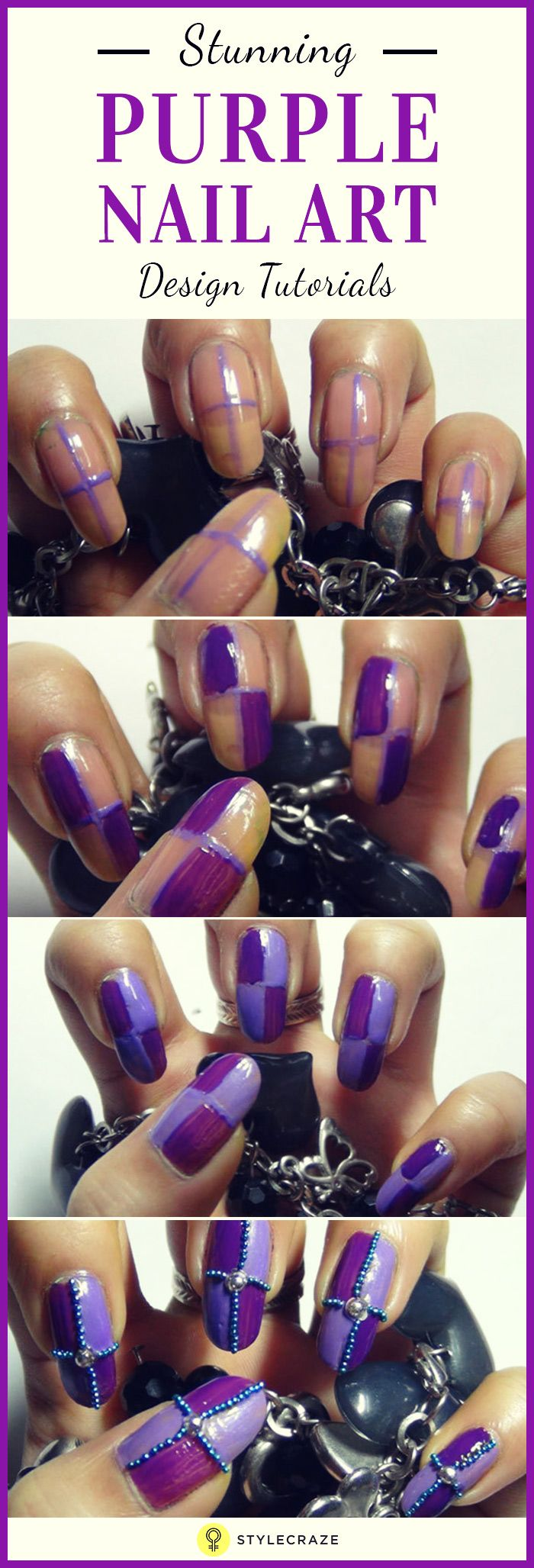 amazing purple nail art design tutorials with pictures purple