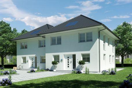 Doppelhaus versetzt haus for Zweifamilienhaus stadtvilla