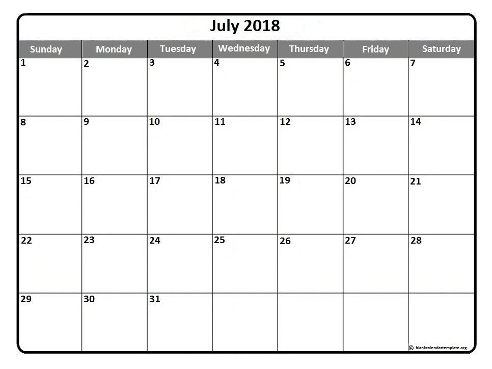 July Calendars July  Printable Calendar Template