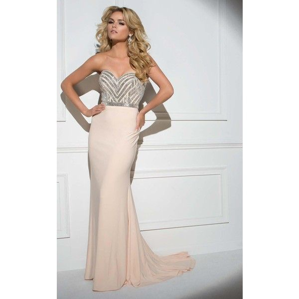 Tony Bowls TB117326 Prom Sequin Dress Long Strapless Sleeveless ($439) ❤ liked on Polyvore featuring dresses, champagne, formal dresses, formal prom dresses, long dresses, champagne long dress, sequin prom dresses and strapless formal dresses
