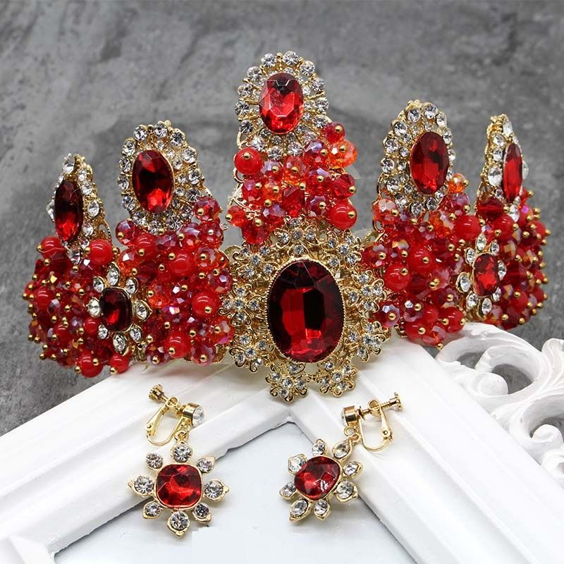 Gorgeous Large Red Rhinestones Tiaras Crown Crystal Headpiece Wedding Bridal Cosplay