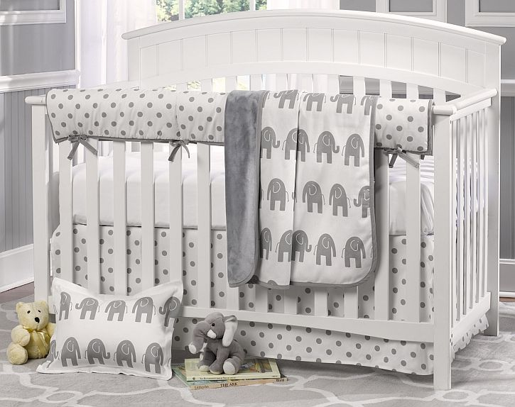 Gray Elephant Nursery Liz Roo 4 Piece Crib Bedding Set Kids