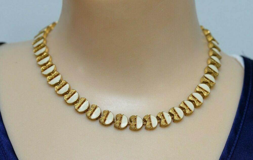 Fernando Originals Necklace FO Goldtone White Enamel Choker 15