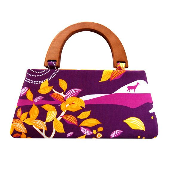 Deer in the purple forest handbag