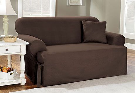 Sure Fit Slipcovers Basic Cotton One Piece T Cushion Clearance Sofa