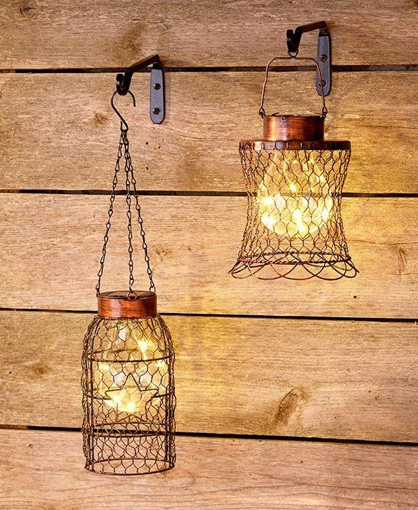 Chicken Wire Lantern Solar Hanging Rustic Primitive