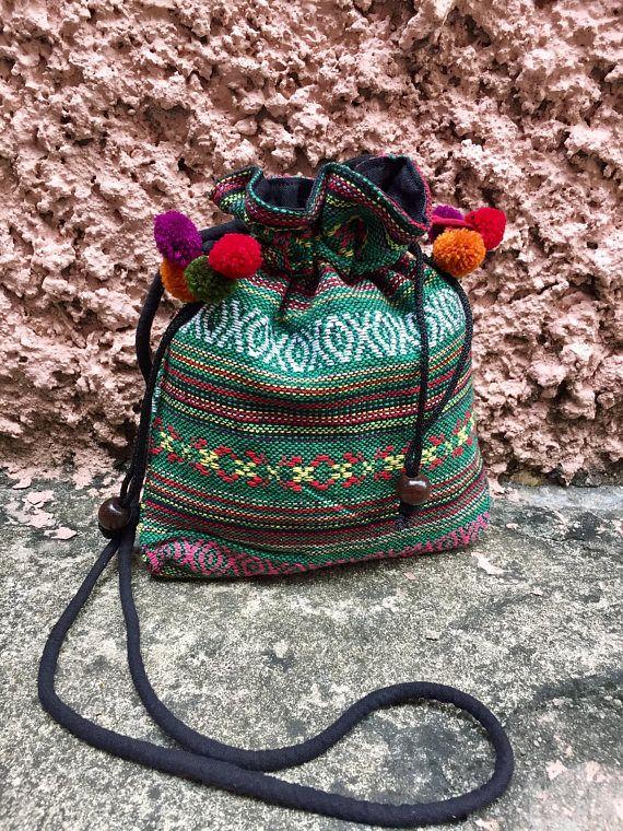 74869d3407ae41 Aztec Bag pom pom Boho Cross body Festival Drawstring Purse Boho ...