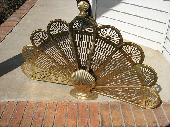 Vintage Brass Clam Shell Peacock Folding Fireplace Fan Screen Art