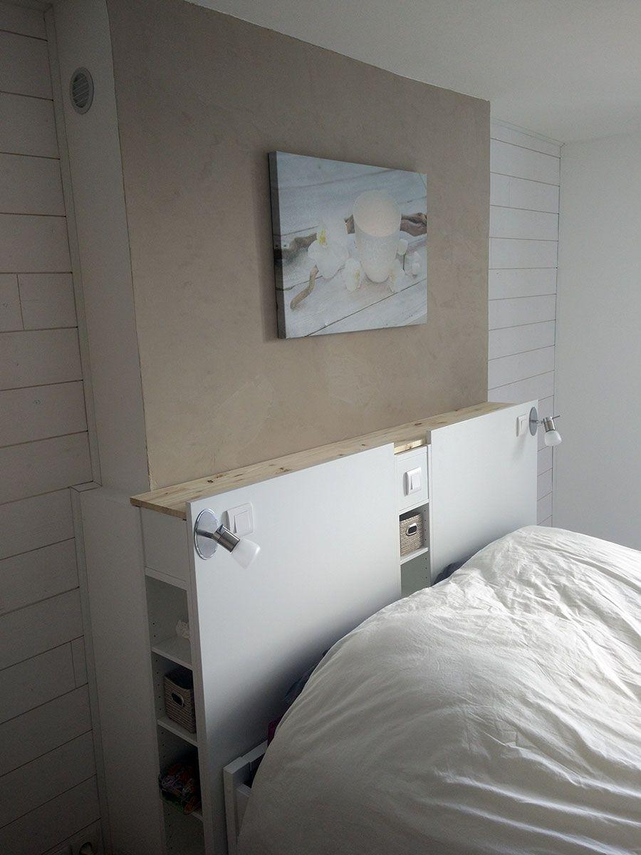 Magnifique t te de lit ikea avec rangements en diy range - Tete de lit diy ...